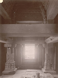 Interior of temple, with linga in foreground, Bharauli, Jhansi District